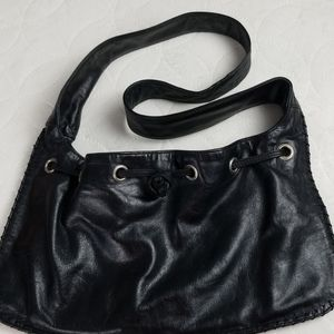 Hype Black Leather Drawstring Purse